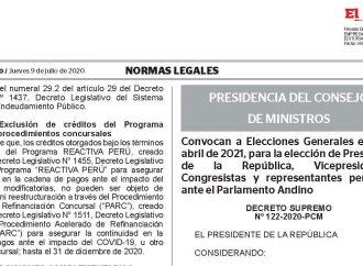 Convocan a Elecciones Generales el 11 de abril de 2021