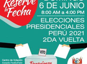 MENSAJE DEL CONSULADO GENERAL DEL PERU EN WASHINGTON DC: SEGUNDA VUELTA DE LA ELECCION PRESIDENCIAL